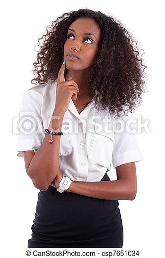 frau, auf, junges schauen, amerikanische , afrikanisch - csp7651034