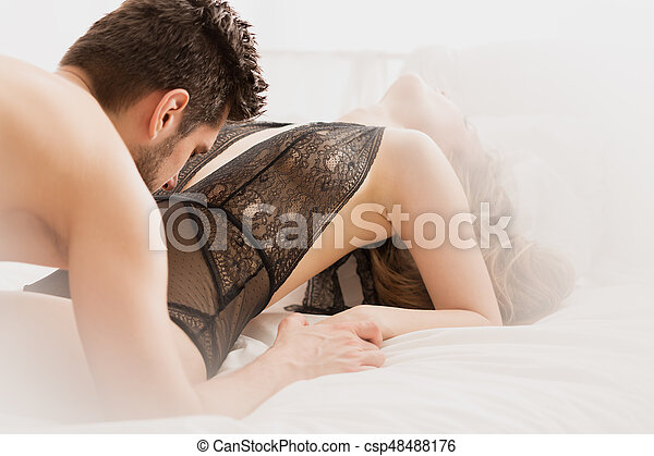 Leidenschaftlich Sexy Frau Bett Mann