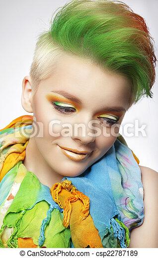 Frau Bunte Gemalt Aufmachung Junger Kurz Frisur