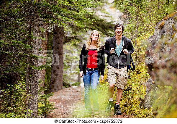 frau, camping, wandern, mann - csp4753073