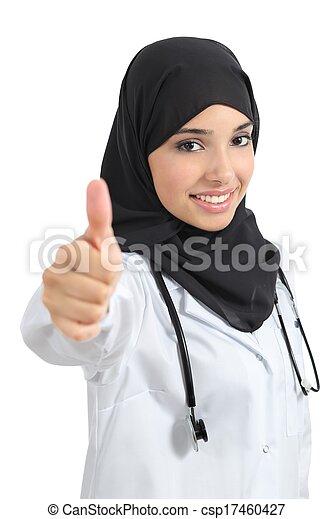 frau, daumen, doktor, auf, araber, zustimmen - csp17460427