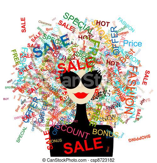Ich liebe Verkauf! Modefrau mit Einkaufskonzept für dein Design - csp8723182