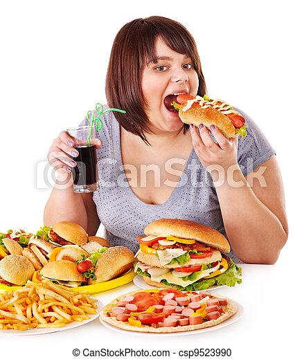 frau essen, schnell, essen. - csp9523990