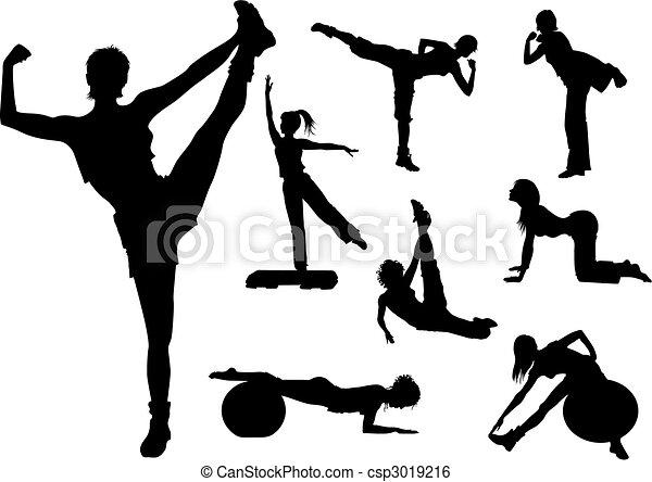 frau, fitness - csp3019216