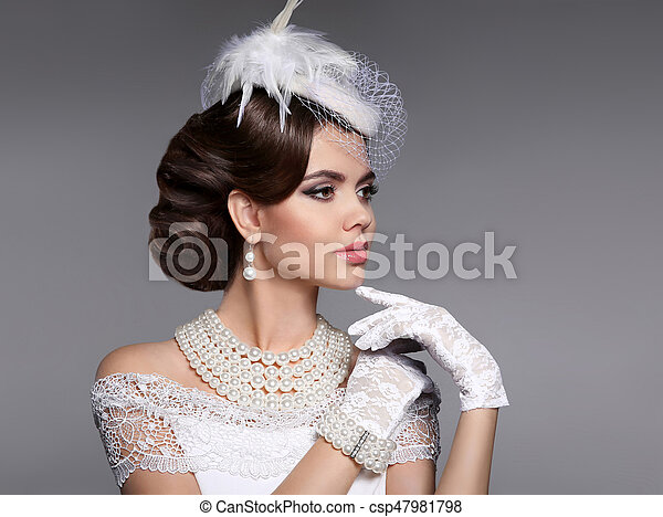 Frau Frisur Perlen Jewelr Elegant Portrait Retro Dame