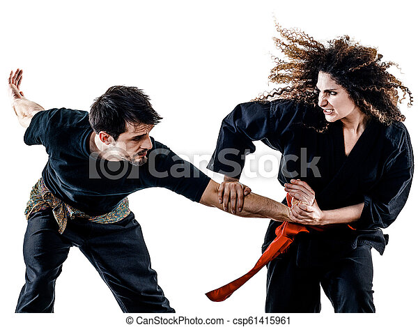 frau, fu, freigestellt, silat, kung, pencak - csp61415961