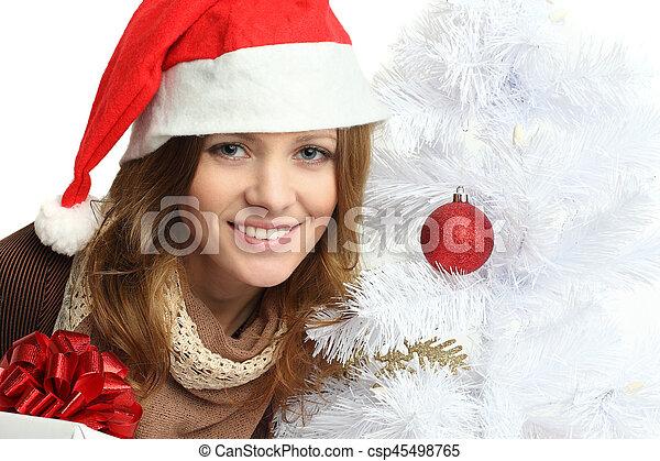Geschenke Weihnachten Frau.Frau Geschenk Baum Gesicht Closeup Lächeln Weihnachten