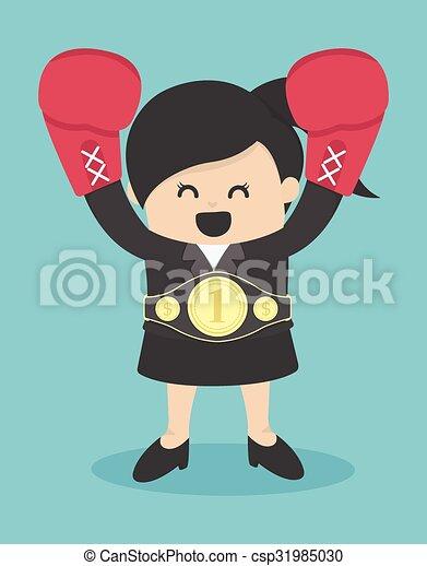 Geschäftsfrau die Gewinnerin - csp31985030