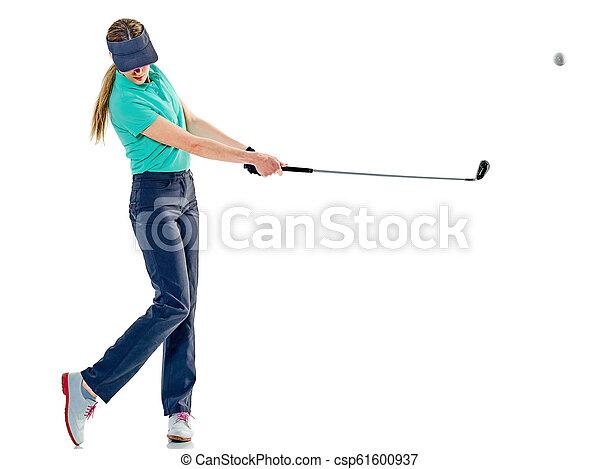 frau, golfspieler, freigestellt, golf - csp61600937