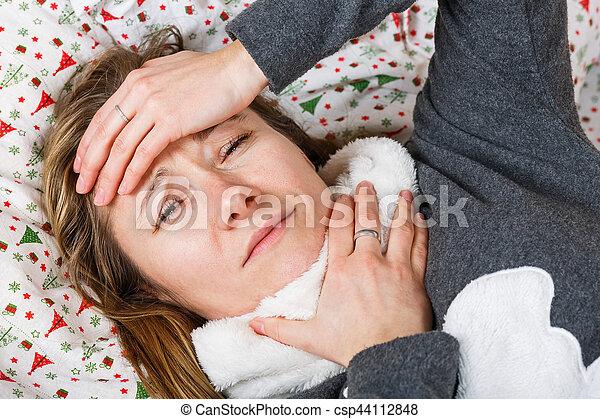 frau, grippe, krank, bekommen - csp44112848