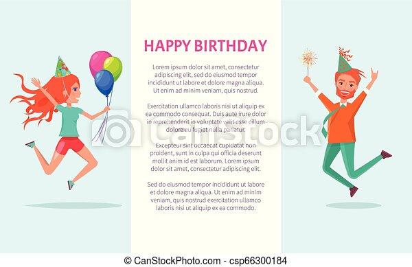 Herzlichen Glückwunsch zum Geburtstag, rothaariger Mann und Frau - csp66300184