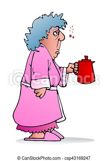 Frau, halten, kessel. Bohnenkaffee, frau, gerecht, einholen ...