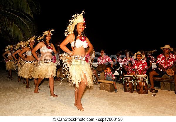 frau, insel, tänzer, junger, pazifik, tahitian, polynesian - csp17008138