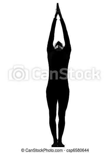 Frau Sonne salutieren Yoga surya Namaskar Pose - csp6580644