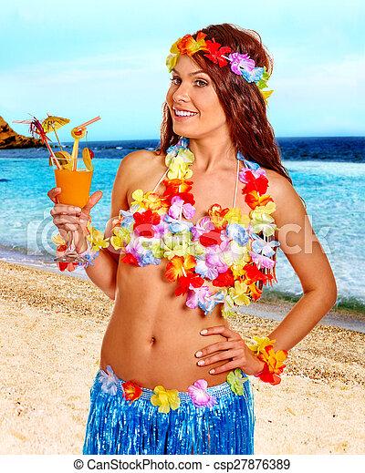 Frau Juice Hawaii Getränk Kostüm Frau Getränk Hawaii Juice