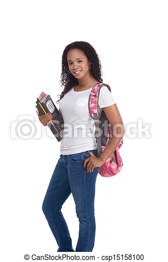 frau, junger, amerikanische , student, afrikanisch - csp15158100
