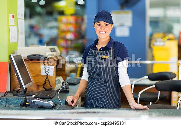 frau, kassierer, supermarkt, arbeitende  - csp20495131