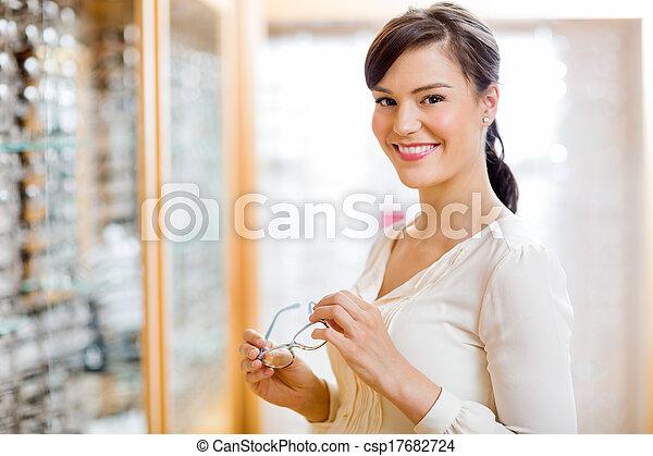 frau, kaufmannsladen, optiker, kaufen, brille - csp17682724