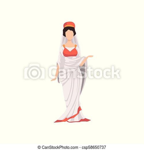 Romanische Frau In Traditionellen Kleidern Burger Des Antiken Roms Vektor Illustration Auf Weissem Hintergrund Romanische