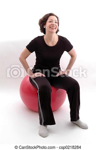 frau, kugel, fitness - csp0218284