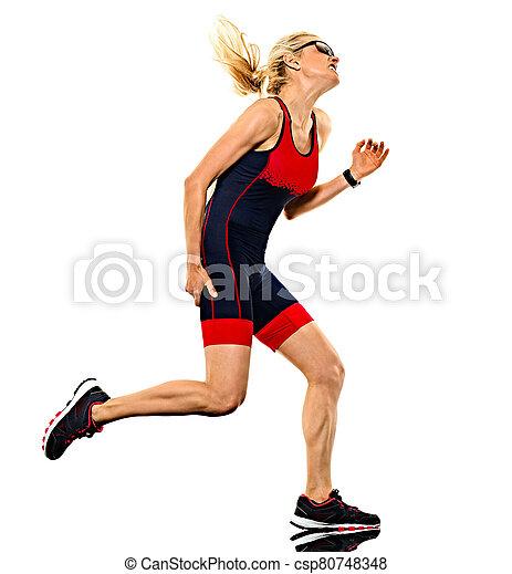 frau, läufer, triathlon, hintergrund, freigestellt, ironman, triathlete, rennender , weißes - csp80748348