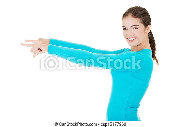 frau, raum, glücklich, junger, zeigen, aufgeregt, kopie - csp15177960