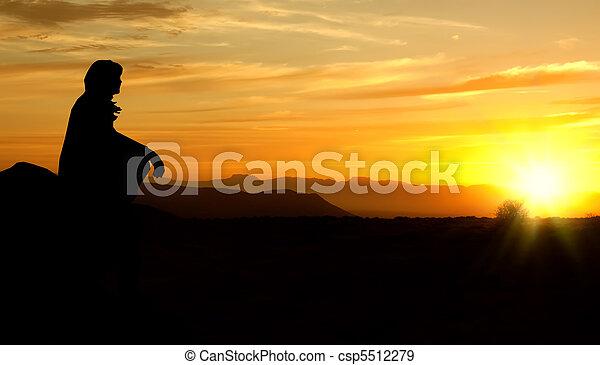frau, rectified, sonnenuntergang, ränder, rauh, silhouette - csp5512279