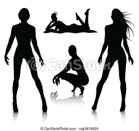 Frauen-Silhouette-Set - csp3416424
