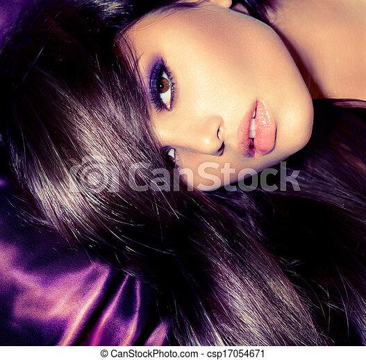frau, schoenheit, glanz, girl., mode, porträt - csp17054671
