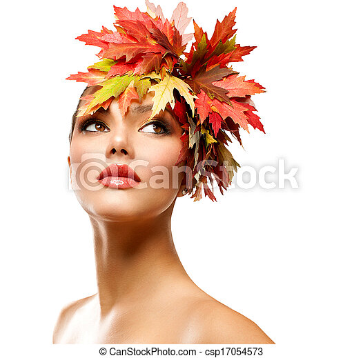 frau, schoenheit, herbst, mode, portrait., m�dchen - csp17054573