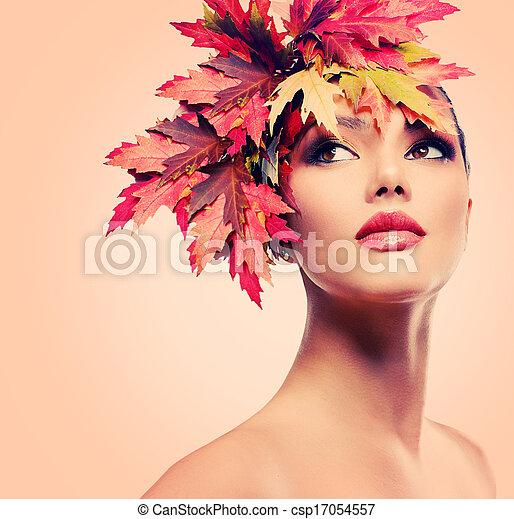 frau, schoenheit, herbst, mode, portrait., m�dchen - csp17054557