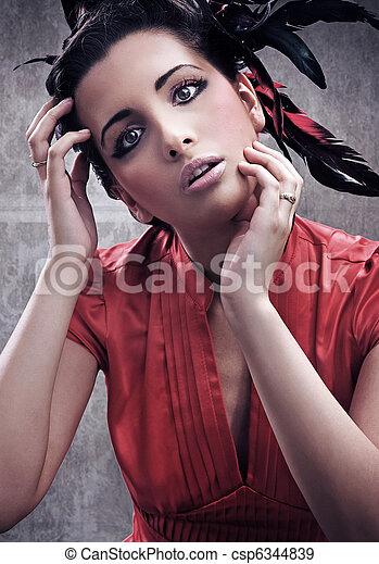frau, schoenheit, junger, attraktive, prächtig, porträt - csp6344839