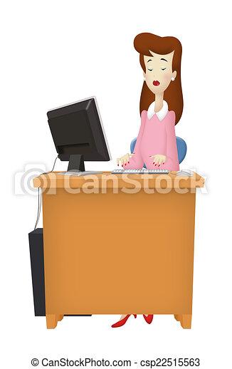 Schreibtisch clipart  Stock Illustration von frau, schreibtisch - frau, arbeitende ...
