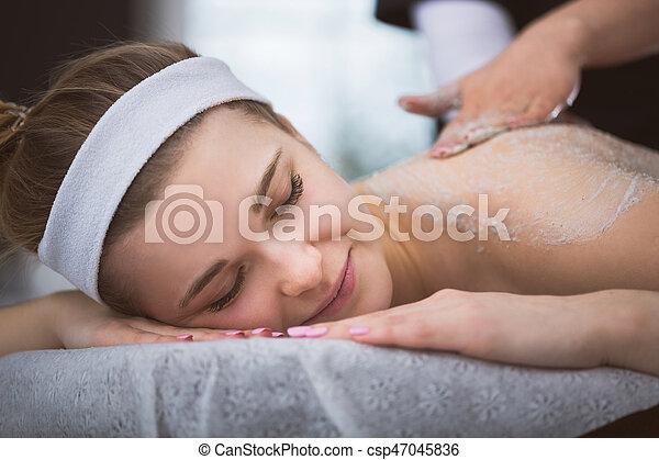 frau, schrubben, sie, bekommen, junger, zurück, firming, therapie, lächeln, zucker - csp47045836