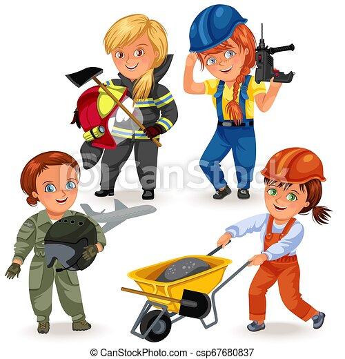 frau, seine, weibliche , arbeitende , berufe, harter arbeiter, schraubenzieher, abbildung, uniform, vektor, starke , arme, bohrmaschiene, feministinnen, not, m�dchen, erbauer - csp67680837