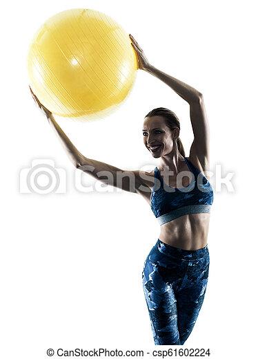 frau, silhouette, excercises, kugel, fitness, schweizerisch - csp61602224