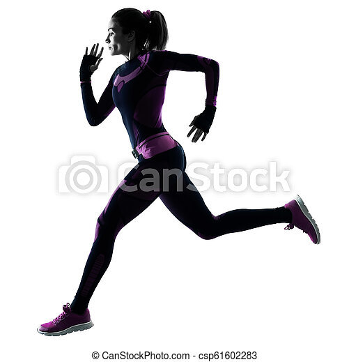 frau, silhouette, läufer, freigestellt, rennender , jogger, jogging, schatten - csp61602283