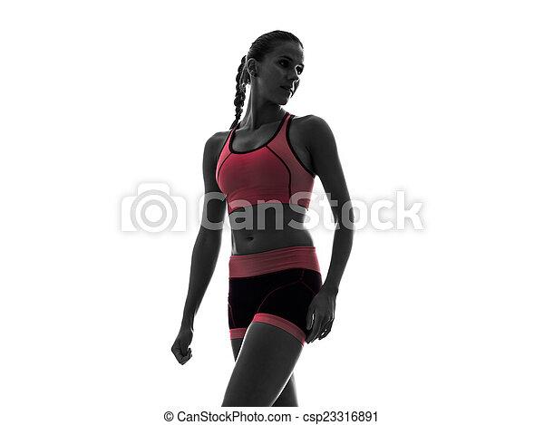 frau, silhouette, läufer, rennender , jogger, jogging - csp23316891