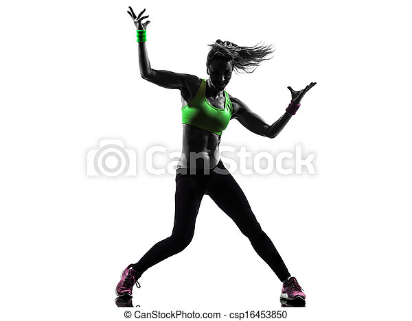 frau, silhouette, zumba, tanzen, trainieren, fitness - csp16453850