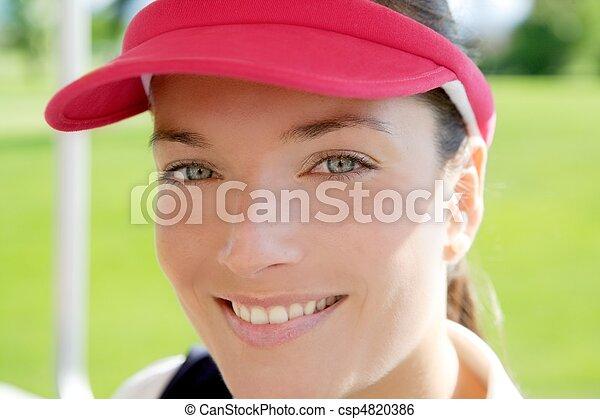 frau, sonne, kappe, gesicht, closeup, sport, visier - csp4820386