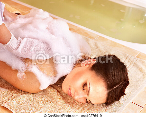 frau, spa., massage, schoenheit - csp10276419