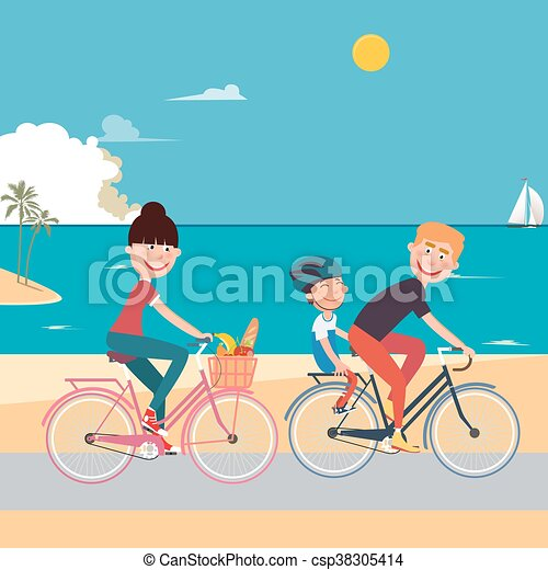 Fröhliches familienfahrrad, fahrräder über berge, eltern mit