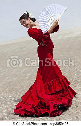frau, traditionelle , tänzer, fächer, spanischer , flamenco, kleiden, rotes  - csp3859405