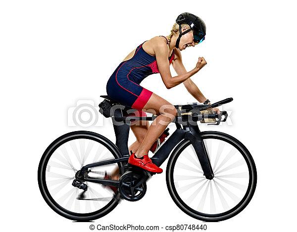 frau, triathlon, athlet, hintergrund, freigestellt, radfahrer, ironman, triathlete, radfahren, weißes - csp80748440