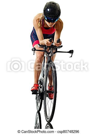 frau, triathlon, athlet, hintergrund, freigestellt, radfahrer, ironman, triathlete, radfahren, weißes - csp80748296