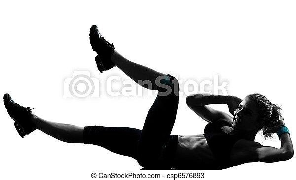 frau, workout, fitness, schieben, ups, abdominals, haltung - csp6576893