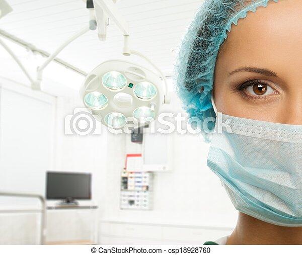 frau, zimmer, doktor, kappe, maske, junger, gesicht, inneneinrichtung, chirurgie - csp18928760