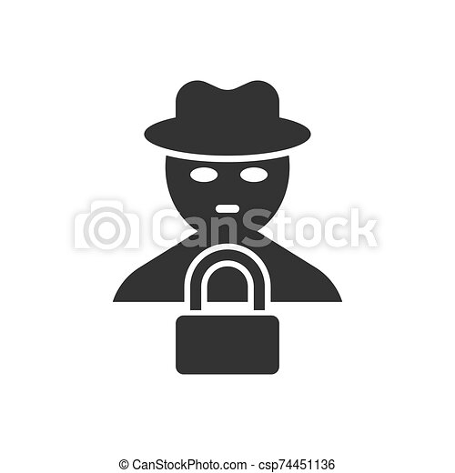 Fraud Hacker Icon In Flat Style Spy Vector Illustration On Isolated Background Cyber Defend Business Concept