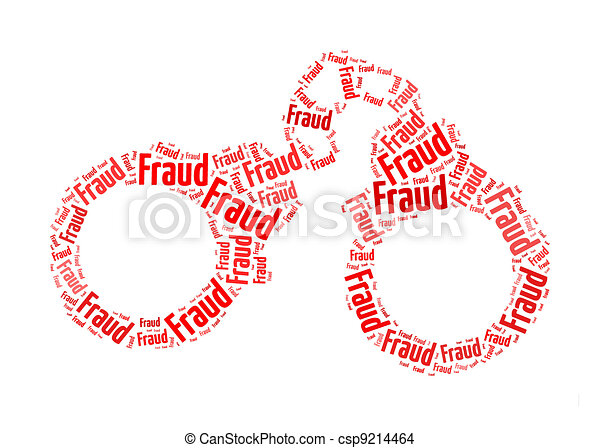 fraud text on handcuff graphic and arrangement concept - csp9214464