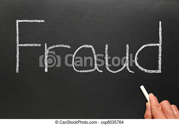 Fraud written with chalk on a blackboard. - csp8035764